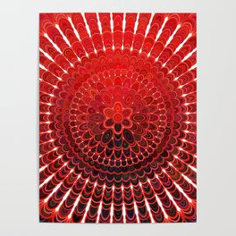 Red Flower Mandala Poster