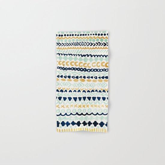 Navy, Teal & Mustard Tribal Hand & Bath Towel
