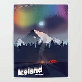 Iceland Northern lights travel poster Poster