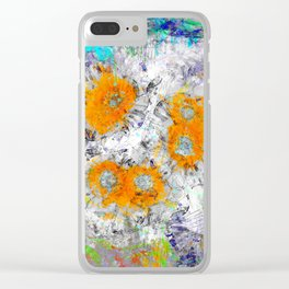 Abstract Floral Mixed Media Watercolor Ink Painting , orange & aqua Clear iPhone Case