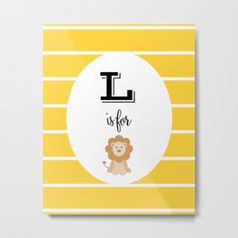 L for Lion Metal Print