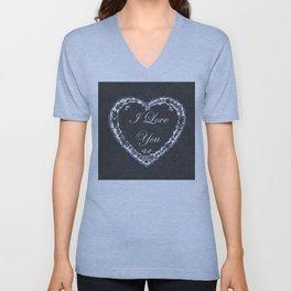 I Love You Valentine Chalkboard Unisex V-Neck