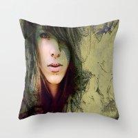 sylvia plath Throw Pillows featuring Sylvia by Robin Curtiss
