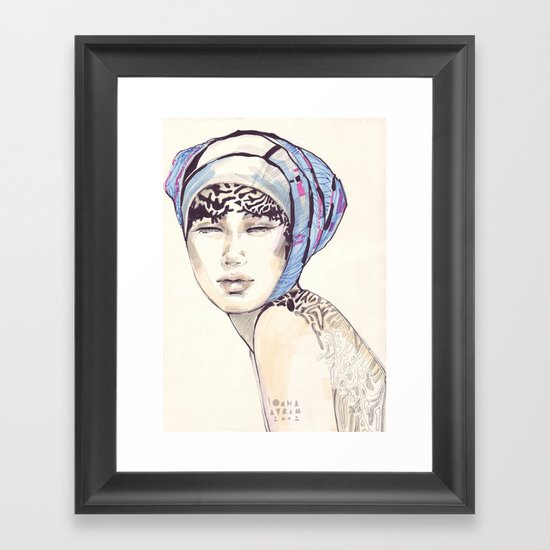 Woman portrait with blue turban Framed Art Print