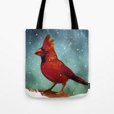 Cardinal snow Tote Bag
