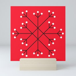 Mod Snowflake Dark Cherry Mini Art Print