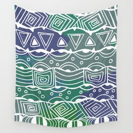 Wavy Tribal Lines with Shapes - Green Blue White Wall Tapestry