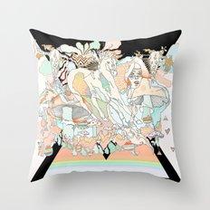 mushrooms & horses Throw Pillow
