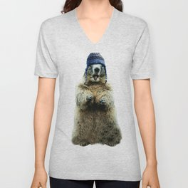 Wooly Marmot by Crow Creek Cool Unisex V-Neck