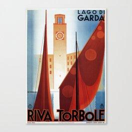 Art deco vintage Italian travel Riva Torbole Lake Garda Canvas Print