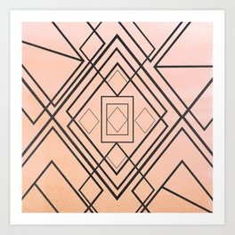 Modern coral gray watercolor ombre geometrical Art Print