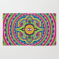 native american Area & Throw Rugs featuring Native American Eye by Roberlan Borges