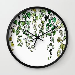 Hanging leaves - watercolor Wall Clock