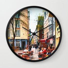 Street Cafe Cologne Koln, Germany Wall Clock