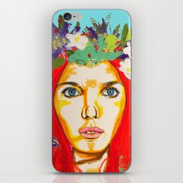 Red haired girl with flowers in her hair iPhone Skin