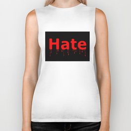 Hate Blood Text Black Biker Tank