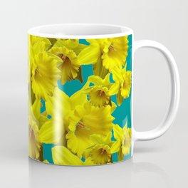 YELLOW SPRING DAFFODILS ON TEAL COLOR ART Coffee Mug