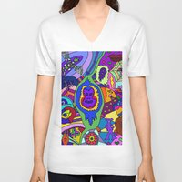 psychadelic V-neck T-shirts featuring Abstract 18 by Linda Tomei