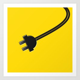 Yellow Power Cord Art Print