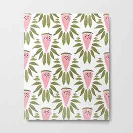 Watermelon and Leaves Metal Print