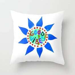 Good Vibes-Blue Throw Pillow