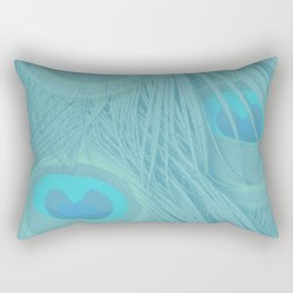 Blue Peacock Feathers Background Rectangular Pillow
