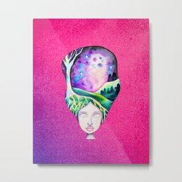 Dreaming of Trees - Whimsical Galaxy Hair Watercolor Girl Metal Print