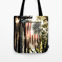 american flag Tote Bags featuring American Flag by Shy Photog