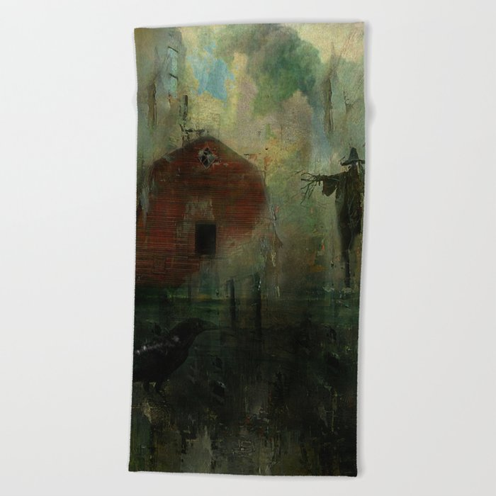 The crow and the Scarecrow Beach Towel