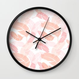 Pink Banana Leaves Wall Clock