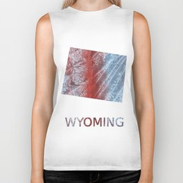 Wyoming map outline Red blue watercolor Biker Tank