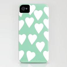 Mint Hearts Slim Case iPhone (4, 4s)