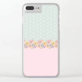 Vintage green pastel pink yellow floral polka dots Clear iPhone Case