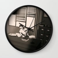 office Wall Clocks featuring Quill's Office by Andrew Formosa