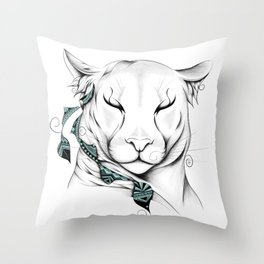 Poetic Cougar Throw Pillow