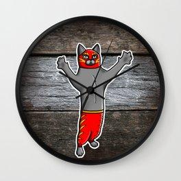 Gato Luchador - Cat Luchadore - Wrestler Kitty Wall Clock