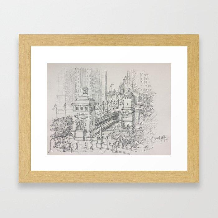 Chicago - Michigan Avenue Bridge Framed Art Print