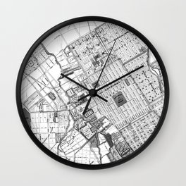 Vintage Map of San Jose California (1886) BW Wall Clock
