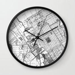 Vintage Map of San Jose California (1886) BW Wall Clock