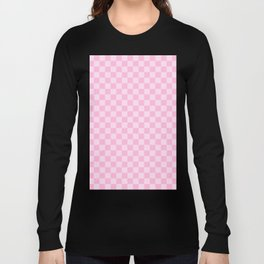 Pink Lace Pink and Cotton Candy Pink Checkerboard Long Sleeve T-shirt