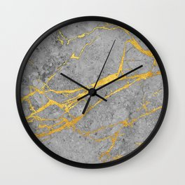 Grey marble and gold Wall Clock