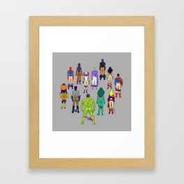Superhero Butts - Power Couple on Grey Framed Art Print