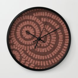 Terracotta clay brushed circles on textured cloth - abstract geometric pattern Wall Clock