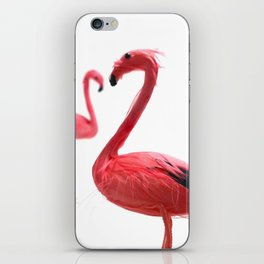 Pink Flamingos with Heart iPhone Skin