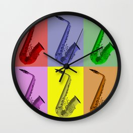 Collage Of Colorful Saxophones Wall Clock