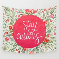 john green Wall Tapestries featuring Stay Curious – Pink & Green by Cat Coquillette
