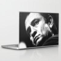 johnny cash Laptop & iPad Skins featuring 8-bit Johnny Cash by BuySkullCat