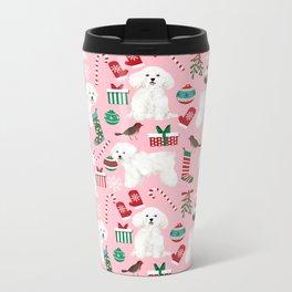 Bichon Frise pink christmas holiday themed pattern print pet friendly dog breed gifts Metal Travel Mug