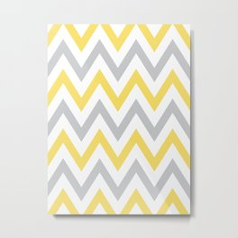 Gray & Yellow Chevron Metal Print