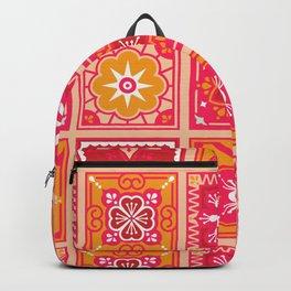Talavera Mexican Tile – Hot Pink & Orange Palette Backpack